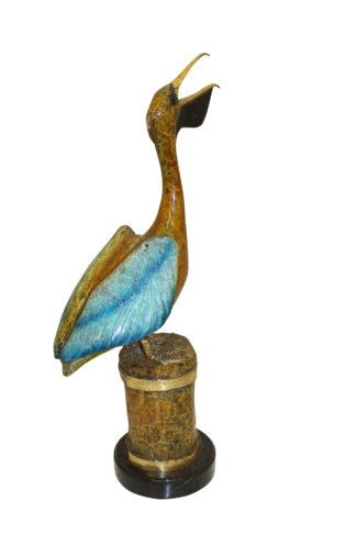 "Pelican on a Tree Stump Bronze Statue -  Size: 8""L x 12""W x 27""H."