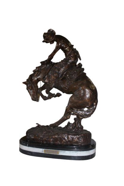"""Rattlesnake by Remington Bronze Statue -  Size: 17""""L x 10""""W x 25""""H."""