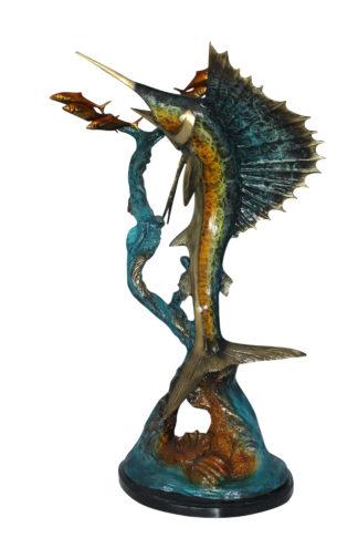 "Sailfish With Small Fish Bronze Statue -  Size: 29""L x 17""W x 40""H."