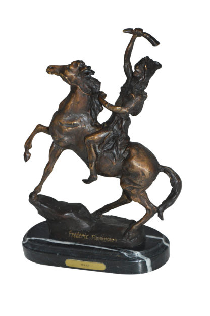 "Scalp By Remington Bronze Statue -  Size: 3""L x 7""W x 10""H."