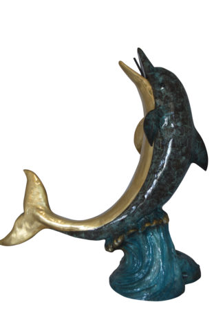 "Single Dolphin  On Wave Fountain Bronze Statue -  Size: 48""L x 24""W x 53""H."