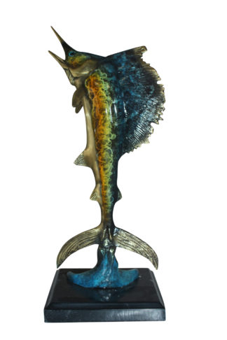 "Single Sailfish Bronze Statue -  Size: 6""L x 6""W x 15""H."