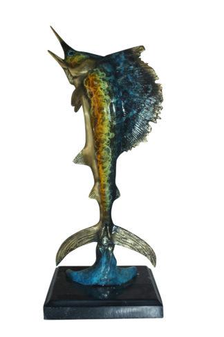 "Single Sailfish Bronze Statue -  Size: 6""L x 6""W x 15""H."