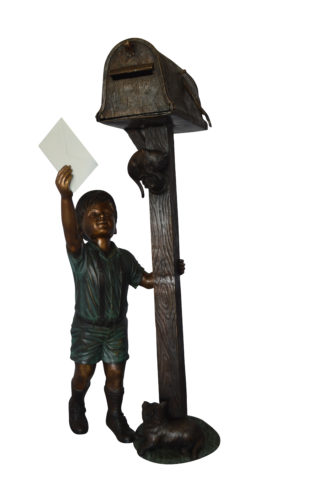 "Standing Boy by Mailbox with Two cats  Bronze Statue -  23""x 19""x 50""H."