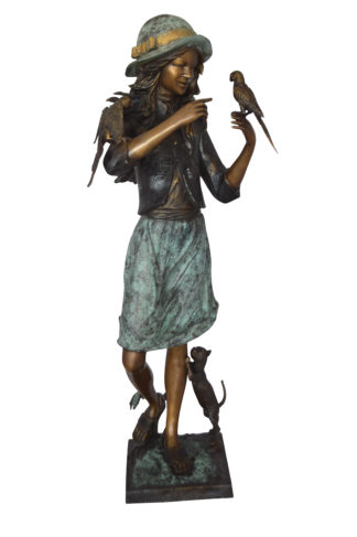 "Standing girl with parrots Bronze Statue -  Size: 15""L x 16""W x 41""H."