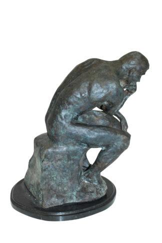 """The Thinker Bronze Statue -  Size: 10""""L x 12""""W x 17""""H."""