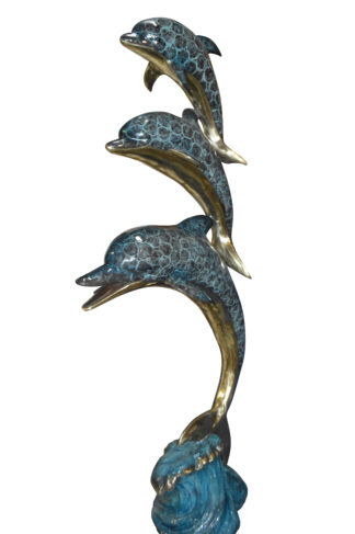 """Three Dolphins Overreach Others Bronze Statue -  Size: 28""""L x 22""""W x 89""""H."""
