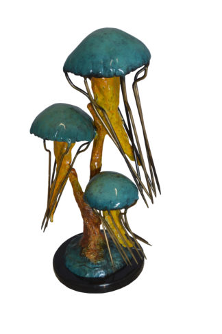 """Three Jellyfish Bronze Statue -  Size: 12""""L x 10""""W x 22""""H."""