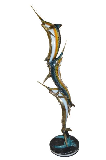 "Three Marlin Fish /bronze Fountain on Triple Marble -  15""x 18""x 77""H."
