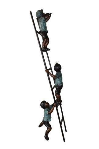 """Three kids on a ladder Bronze Statue -  Size: 24""""L x 22""""W x 94""""H."""