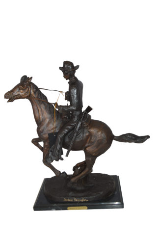 "Trooper of the Plains Bronze Statue by Remington -  Size: 9""L x 22""W x 22""H."