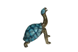 "Turtle with special patina Bronze Statue -  Size: 14""L x 10""W x 15.5""H."