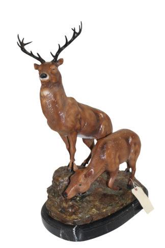 "Two Deers Bronze Statue -  Size: 21""L x 13""W x 32""H."