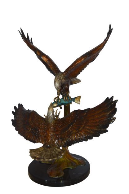 """Two Eagles Fighting on Fish Bronze Statue -  Size: 33""""L x 28""""W x 42""""H."""