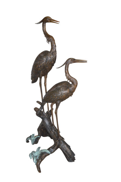 """Two Herons on a three Bronze Fountain Statue -  Size: 32""""L x 24""""W x 67""""H."""