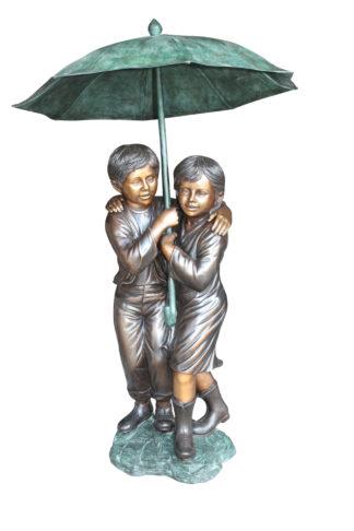 "Two Kids Holding an Umbrella - Bronze Statue - Fountain -  90""L x 34""W x 90""H."