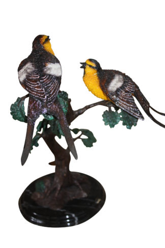 "Two Sparrows on tree - Bronze Statue -  Size: 17""L x 8""W x 17""H."