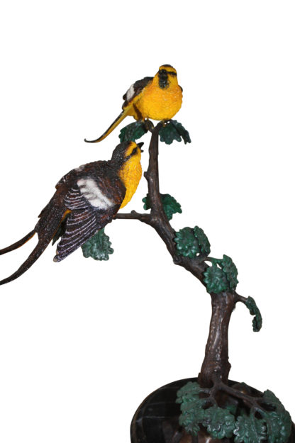 """Two Sparrows on tree - Bronze Statue -  Size: 17""""L x 8""""W x 17""""H."""