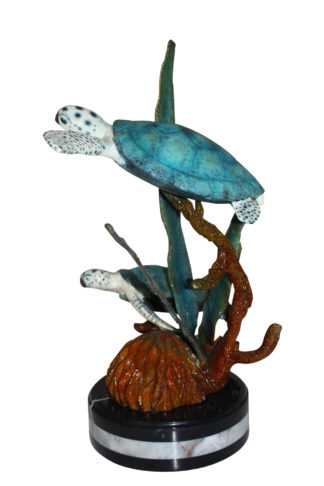 "Two Sea Turtles Swimming Bronze Statue -  Size: 17""L x 9""W x 20""H."