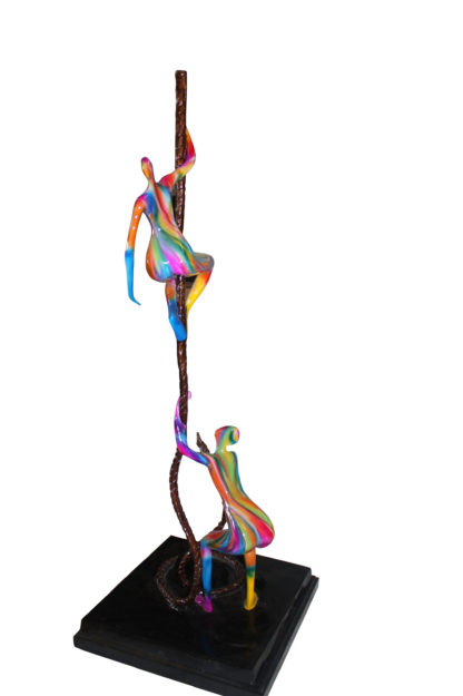 """Two boys made of Bronze climbing on rope -  Size: 14""""L x 14""""W x 39""""H."""