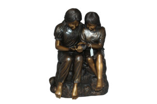 "Two kids holding a bird Bronze Statue -  Size: 18""L x 26""W x 34""H."