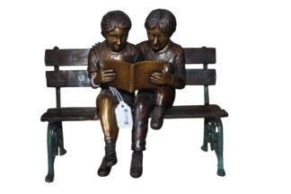 "Two kids on bench reading a book - Bronze Statue -  Size: 9""L x 6""W x 8""H."