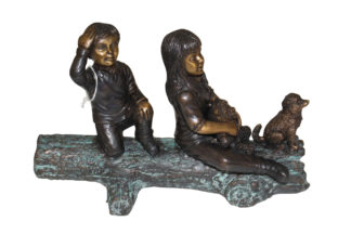 "Two kids with dog on log Bronze Statue -  Size: 12""L x 5""W x 8.5""H."