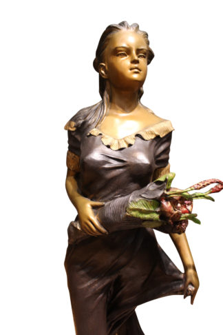 "Woman Holding Bouquet Standing on Lily  Bronze Statue/Fountain 28"" x27""x 60""H."
