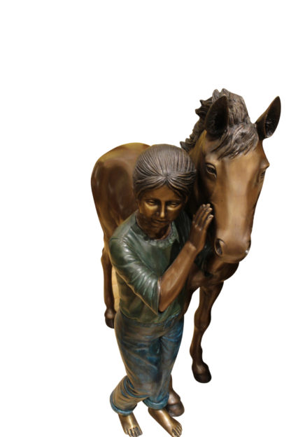 """Young Girl and her pony Bronze Statue -  Size: 48""""L x 20""""W x 48""""H."""