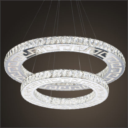 LED Chandelier Modern-Crystal-Two Ring - Diameter 600 MM or approx 23.6 Inches