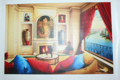 "Orlando Quevedo Giclée ""A View From My Room"" Painting -  Size: 21""L x 13.5""W"
