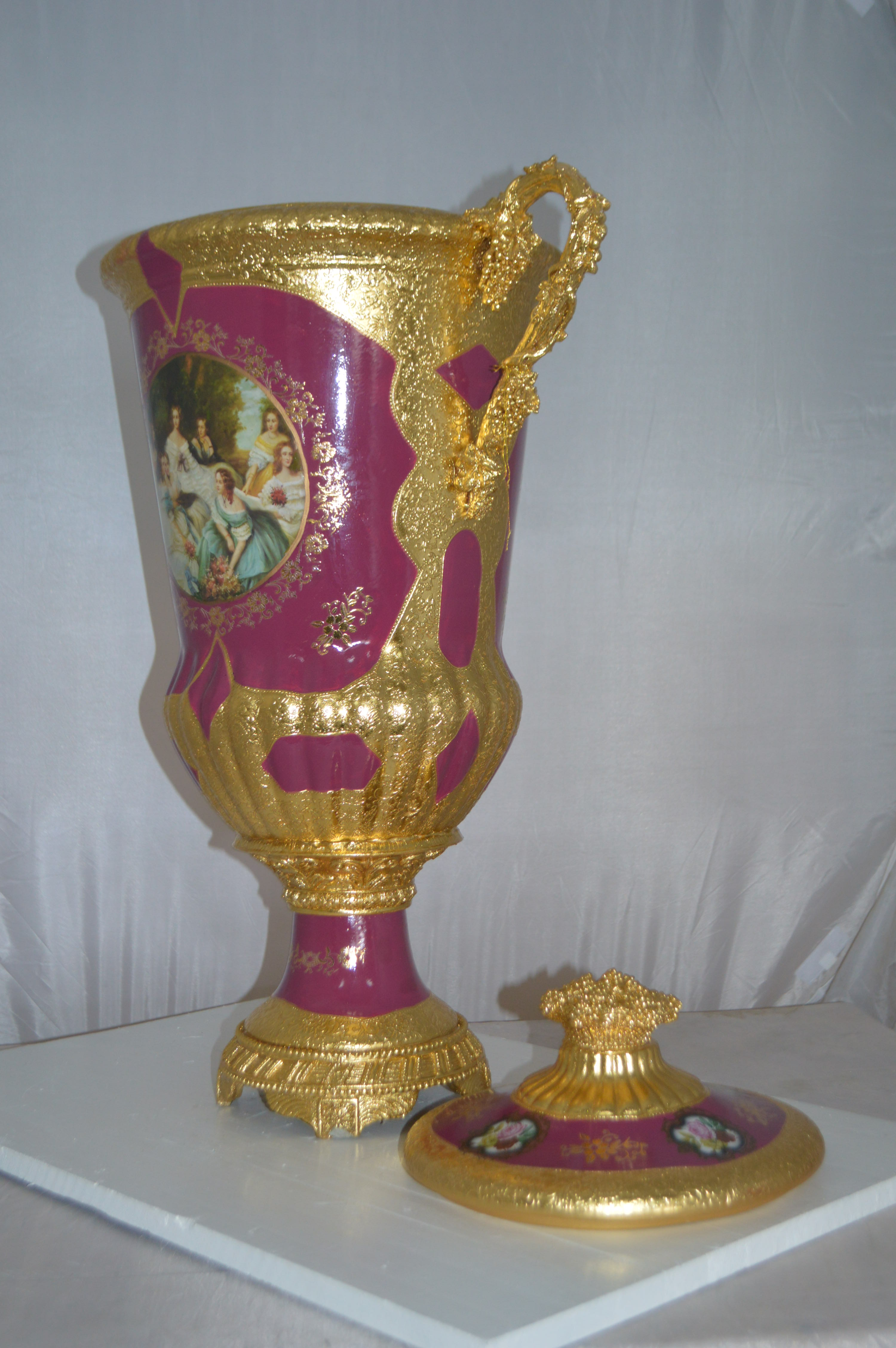 Decoration Vase With Cover Gold And Pink Size 23 L X 16 W X 33 H Nifao
